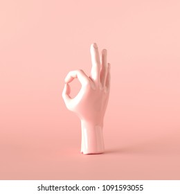 Blush pink hand OK sculpture, Minimal Ok art, 3d illustration.