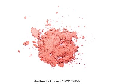 Blusher pressed brocken white isolated background