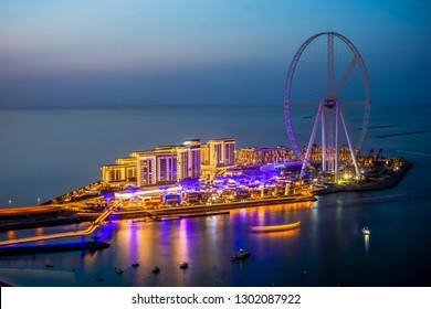 Bluwaters Island Dubai overview - blue hour