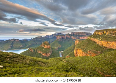 Blyde river Canyon panorama from viewpoint over panoramic scenery of Three Rondavels in Mpumalanga South Africa
