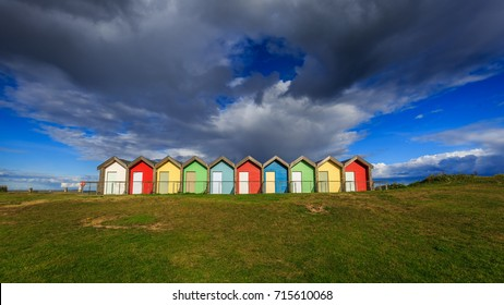 Blyth beach huts in Northumberland, England