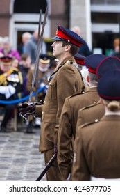 BLYTH, NORTHUMBERLAND, ENGLAND. APRIL 30, 2016. The 101st (Northumbrian) Regiment of the Royal Artillery gather and march to receive the freedom of the County. April 30, 2016, Blyth, England, UK.