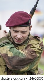 BLYTH, NORTHUMBERLAND, ENGLAND, MAY 21, 2016. Blyth Battery presents a World War Two re enactment and displays for the general public. May 21,2016, Blyth, Northumberland, England, UK.