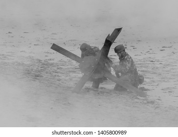 BLYTH, NORTHUMBERLAND, ENGLAND. MAY 8TH AND 9TH 2019. World War 2 reenactment. Enthusiasts dressed as German Soldiers in beach battle, display.May 8th and 9th 2019. Blyth, Northumberland, England. UK.