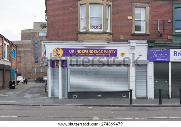 Blyth, Northumberland, UK: 28 APRIL 2015. Recently opened constituency office for the United Kingdom Independence Party