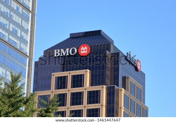 A BMO Harris Bank, N.A. building.  BMO is based in Chicago, Illinois, and is a Federal Reserve System member operating branches in multiple states - Indianapolis, Indiana, USA - July 24, 2019