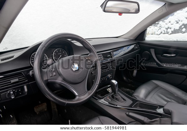 BMW car interior. 320 model. MOSCOW, RUSSIA - FEBRUARY 17, 2017: Parked the car near the city open by owner and specially prepared for taking pictures.