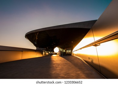 BMW Welt (BMW World), munich, germany - November 17 2018: the BMW Welt in munich at the evening with a beautiful sunset