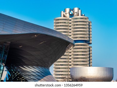 BMW Welt (BMW World), munich, germany - April 01 2019: the BMW Welt in munich at the golden hour with a beautiful sky