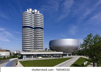 BMW-Museum and BMW Headquarters, Munich, Bavaria, Germany, Europe, 21. May 2014