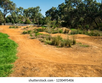 BMX bicycle race track in a park in suburban Mitcham in Melbourne, Australia.