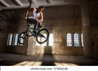 Bmx freestyle. A man jumping with bmx.