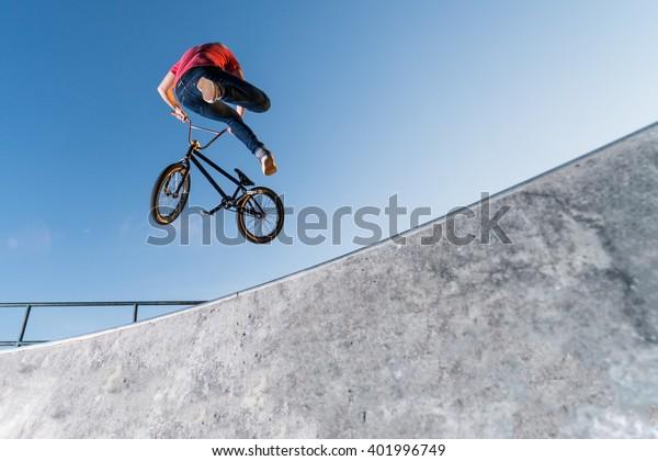 Bmx Table Top on a skate park.