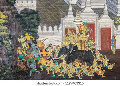 Bngkok, Thailand - December 29, 2017: Ancient Thai mural painting of Ramakien epic inside of Wat Phra Kaew in Bangkok, Thailand.Ramakien is national epic of Thailand derived from Hindu Ramayana epic.