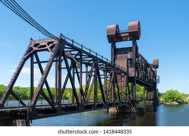 BNSF Railroad Saint Croix River Crossing spanning the St. Croix and Mississippi Rivers at Prescott, Wisconsin, USA.