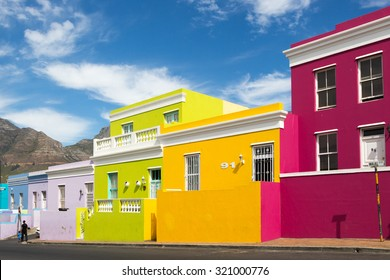 BO KAAP, CAPE TOWN - APRIL 18 2015 - Colourful houses in Bo Kaap area, a former Malaysian neighbourhood in Cape town, South Africa