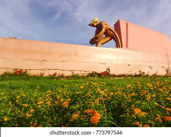 Boa Vista, Roraima, Brazil, August 25, 2008. Statue of the Monument to the miner in the administrative center of Boa Vista