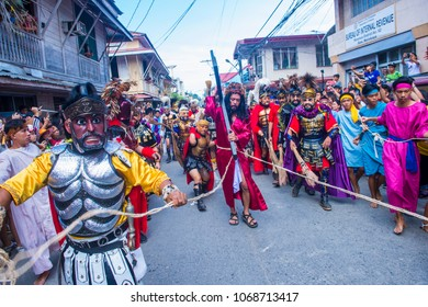 BOAC , PHILIPPINES - MARCH 30 : Participants in the Moriones festival in Boac Marinduque island the Philippines on March 30 2018. The Moriones festival held anualy on the Holy Week