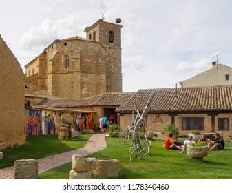 Boadilla del Camino, Castile and Leon, Spain - September 15, 2014: Church of Santa Maria  from the courtyard of the En El Camino hostel (albergue)