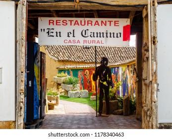 Boadilla del Camino, Castile and Leon, Spain - September 15, 2014: Welcome to the En El Camino hostel and restaurant