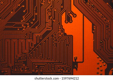 Сircuit board abstract background. computer motherboard close up. modern technologies. micro elements of computer with connections and traces. Intelligent technology