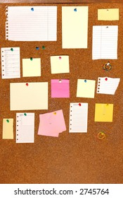 board with blank papers, cards , pins and post-it.