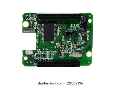 Board with chips on the white background
