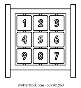 Board with cubes on playground icon. Outline illustration of board with cubes on playground  icon for web