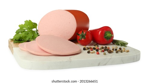Board with delicious boiled sausage, vegetables, herbs and peppercorns on white background - Shutterstock ID 2013266651