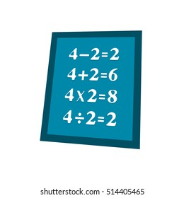 board with four math equations for kids