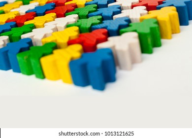 Board game concept - ? many meeple figure, different color, white background