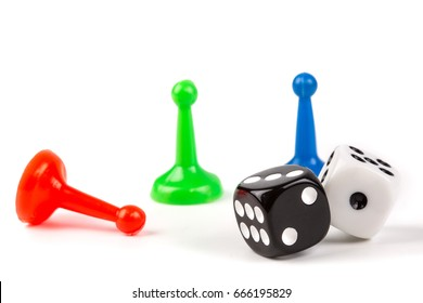 board game play figures and double dices isolated on white background