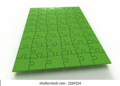 Board of green Puzzle on white (3D)
