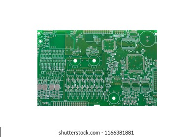 A board with microcircuits or a computer board is isolated on a white background.