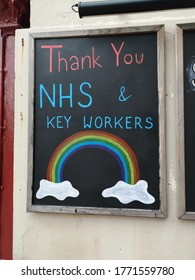 A board on a wall thanking the NHS & Key Workers