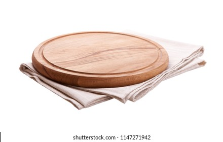 Board for pizza and tablecloth closeup isolated on white. Canvas, dish towels on white background top view mock up. Selective focus.