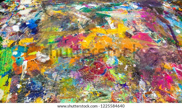 Board Portion Table Top Artists Use Stock Photo (Edit Now) 1225584640