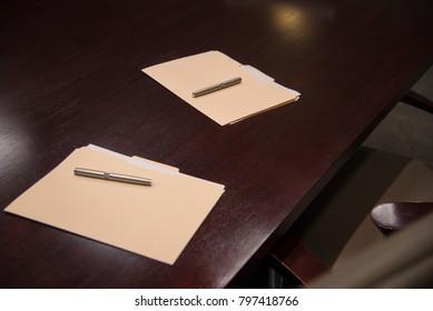 Board room Prepare for Business meeting  pens manilla folder desk corporate, signature, agreement