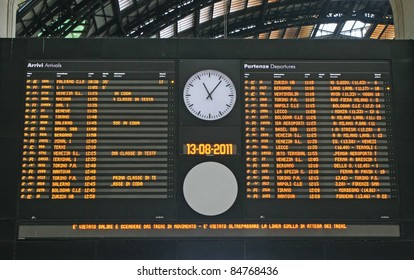 Board schedules of trains and arrives at the station