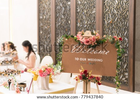 Board Sign Welcome Our Wedding On Stock Photo Edit Now 779437840