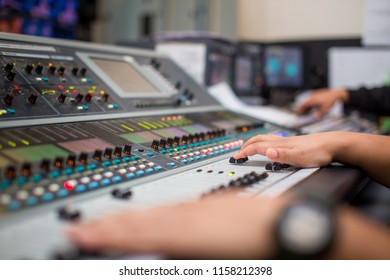 Boardcast studio, Sound digital mixer in control room. A little
