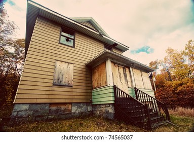 A boarded up, broken down, abandoned, haunted house.