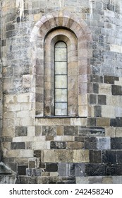 Boarded Window in a Cathedral, vertical composition