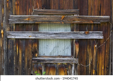 A boarded up window on an old building in the ghost town of Rush, Arkansas