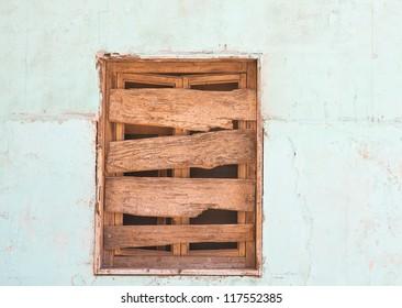 Boarded-up window