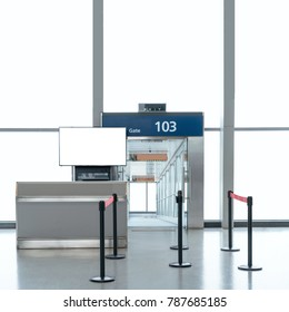 Boarding gate entrance with mock up LCD TV for your advertising information