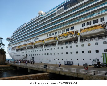Boarding Italian Cruiseship Costa Favolosa, 29 march 2016, at the cruiseterminal in the port of La Romana in Southern Dominican Republic, Caribbean. Ship data: tonnage: 113216 GT, length: 290 m.
