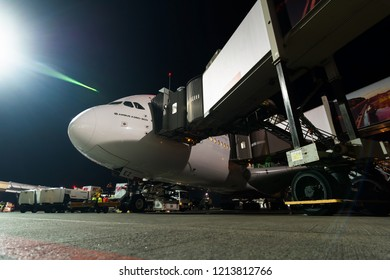 Boarding operations of Airbus 380 of Emirates, stays in LED Airport in St. Petersburg, Russia on october 25, 2018. First flight to Pulkovo airport. Handling and preparing for departure.