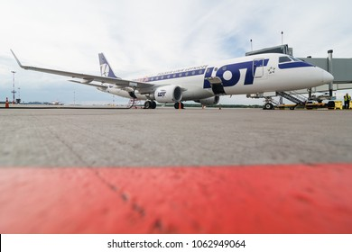 Boarding operations of Embraer 190 of LOT Polish Airlines, stays in LED Airport in St. Petersburg, Russia on August 10, 2017. LOT is an airline based in Poland Warsaw.