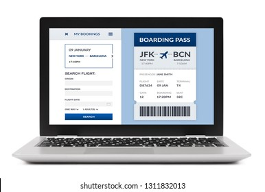 Boarding pass concept on laptop computer screen. Isolated on white background. All screen content is designed by me.